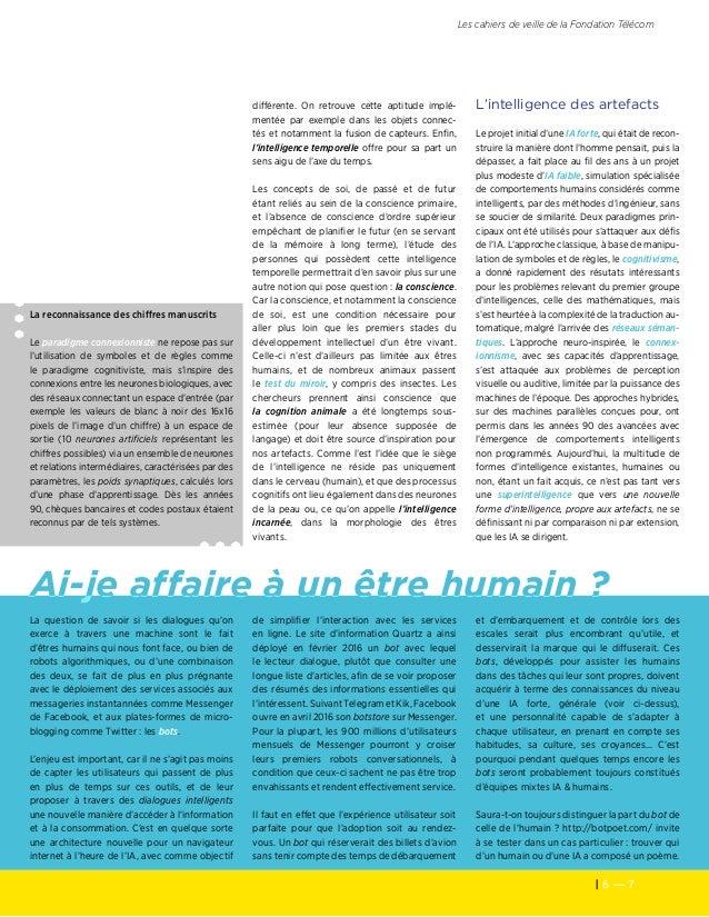 6 — 7 Les cahiers de veille de la Fondation Télécom Ai-je affaire à un être humain? La reconnaissance des chiffres manusc...