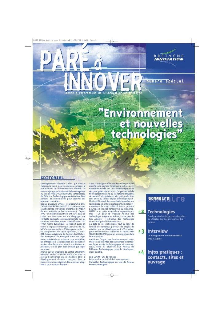 Cahier PAI 2000 : environnement/nouvelles technologies