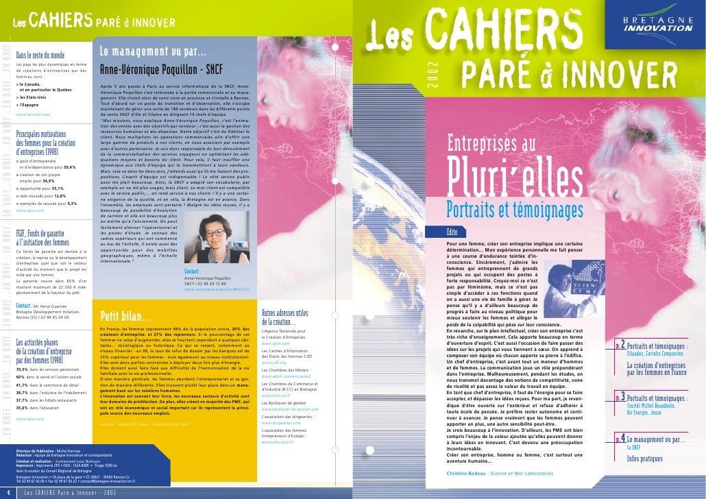 Cahier PAI 2002 : entreprenariat féminin