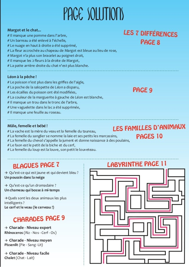 Cahier Jeux France Abris Pour Enfants De 4 à 10 Ans
