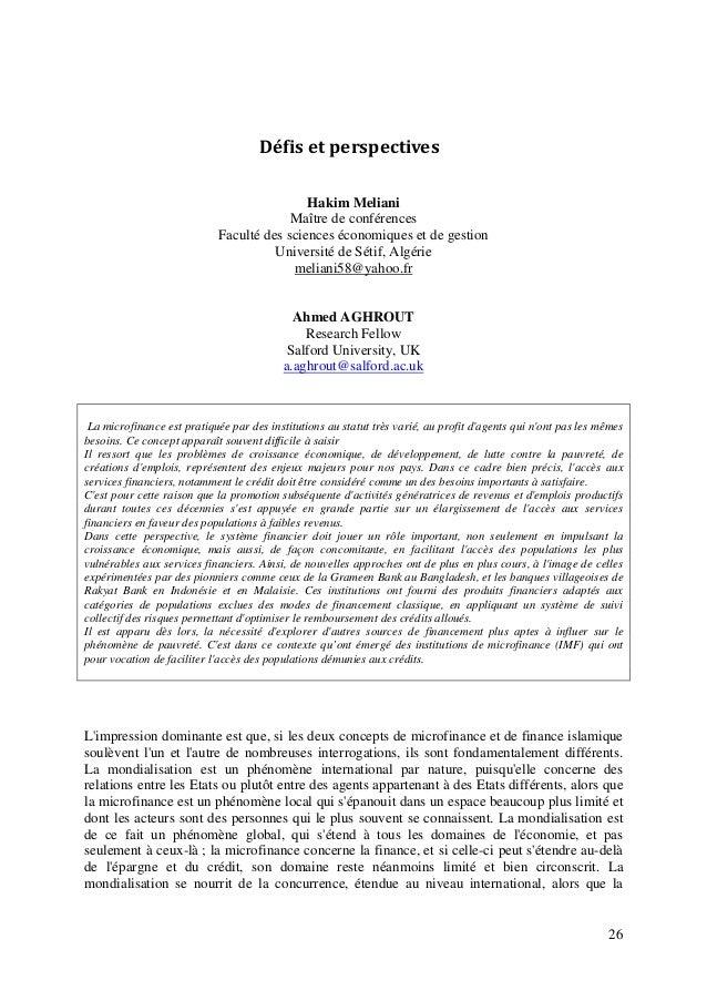 26  Défisetperspectives Hakim Meliani Maître de conférences Faculté des sciences économiques et de gestion Universit...