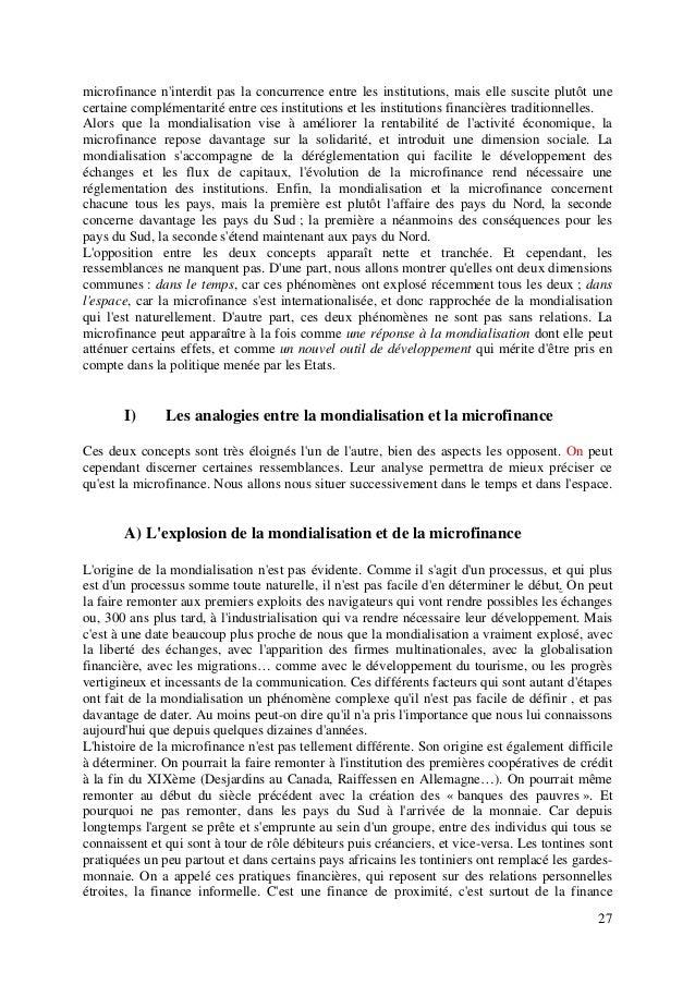 27 microfinance n'interdit pas la concurrence entre les institutions, mais elle suscite plutôt une certaine complémentarit...