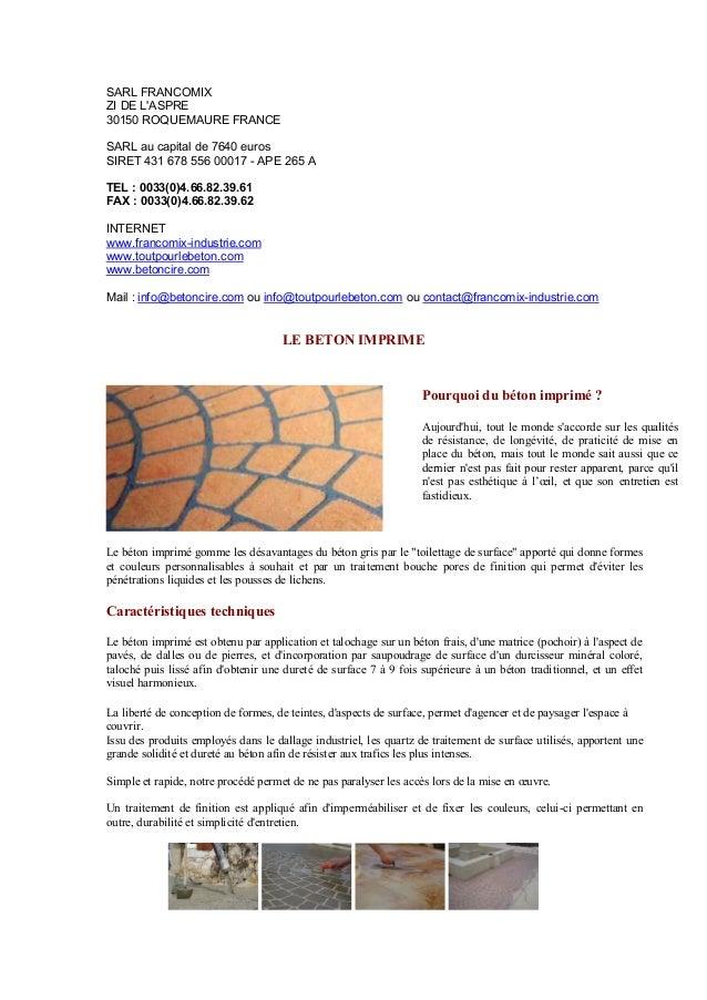 Cahier technique beton exterieur for Chape lissee au quartz