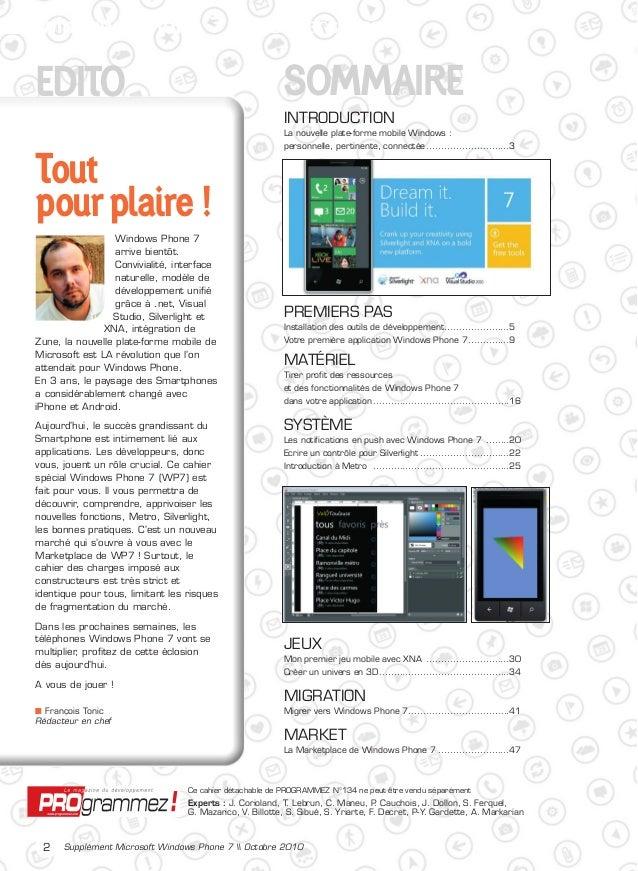 Cahier Windows Phone 7 par Programmez