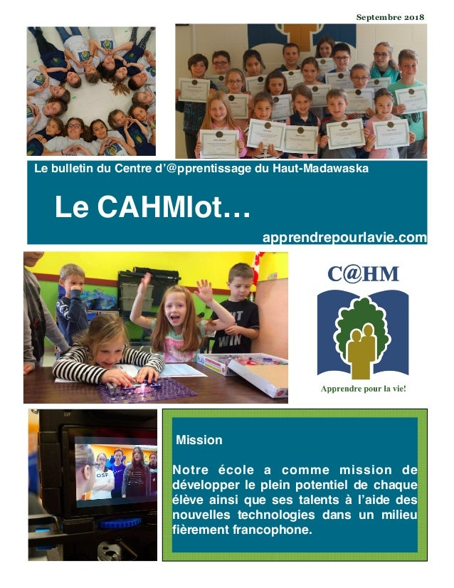 Mission Notre école a comme mission de développer le plein potentiel de chaque élève ainsi que ses talents à l'aide des no...
