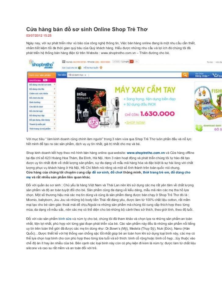 Cửa hàng bán đồ sơ sinh Online Shop Trẻ Thơ03/07/2012 15:25Ngày nay, với sự phát triển như vũ bão của công nghệ thông tin,...