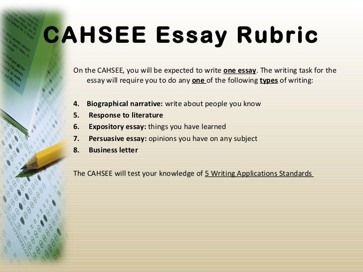 cahsee essay score Are you sure you understand everything about cahsee scores there could be something important you are missing out on essay score: your essay is.