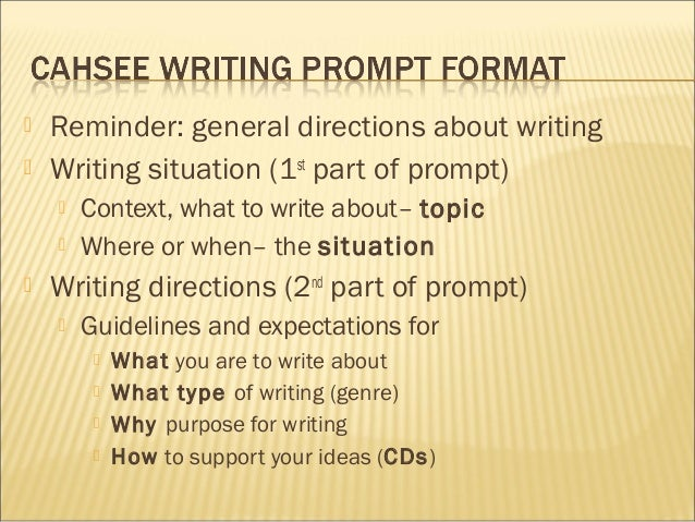 Cahsee Sample Essay Prompts