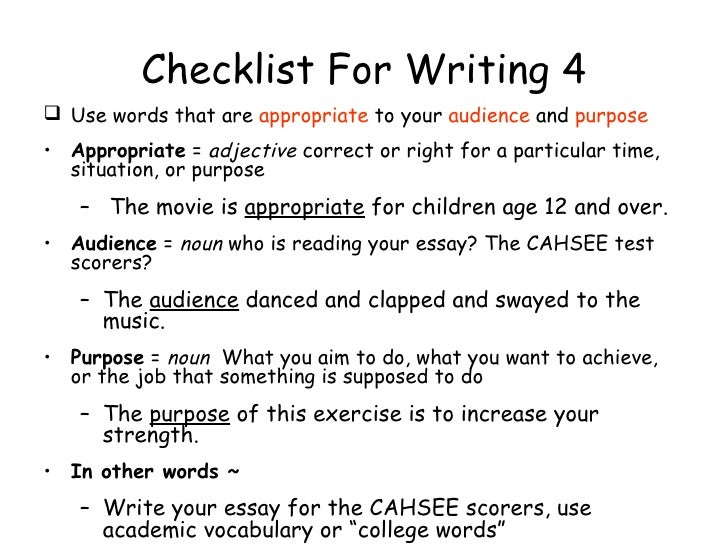 Details About CAHSEE Writing Prompts