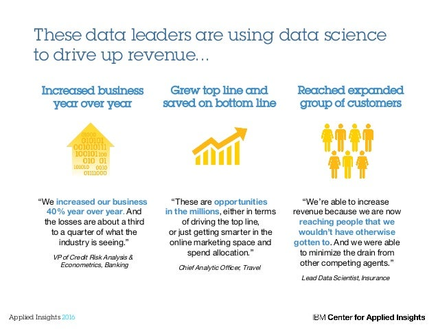 """These data leaders are using data science to drive up revenue... """"We increased our business 40% year over year. And the lo..."""