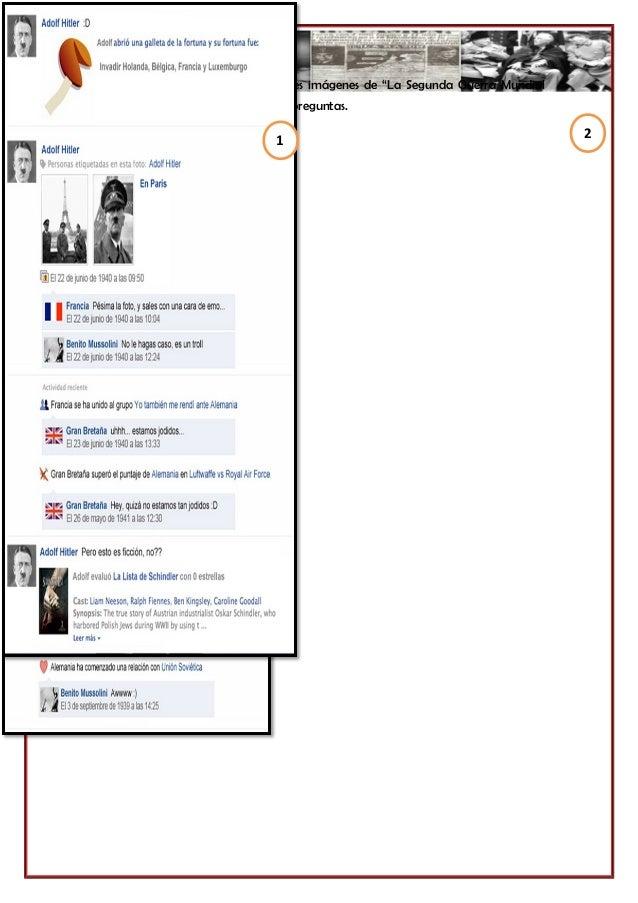 """Observa detalladamente las siguientes imágenes de """"La Segunda Guerra Mundial según Facebook"""", luego responde las preguntas..."""