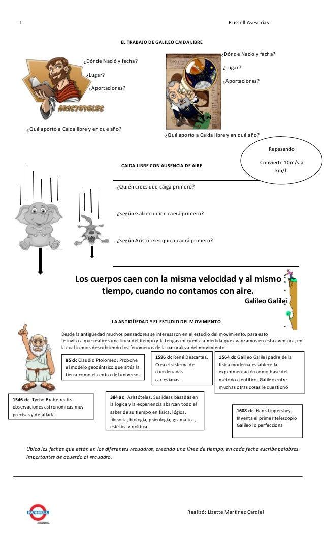 Estudio de Caida libre (aristoteles vs galileo) por lizette martinez…