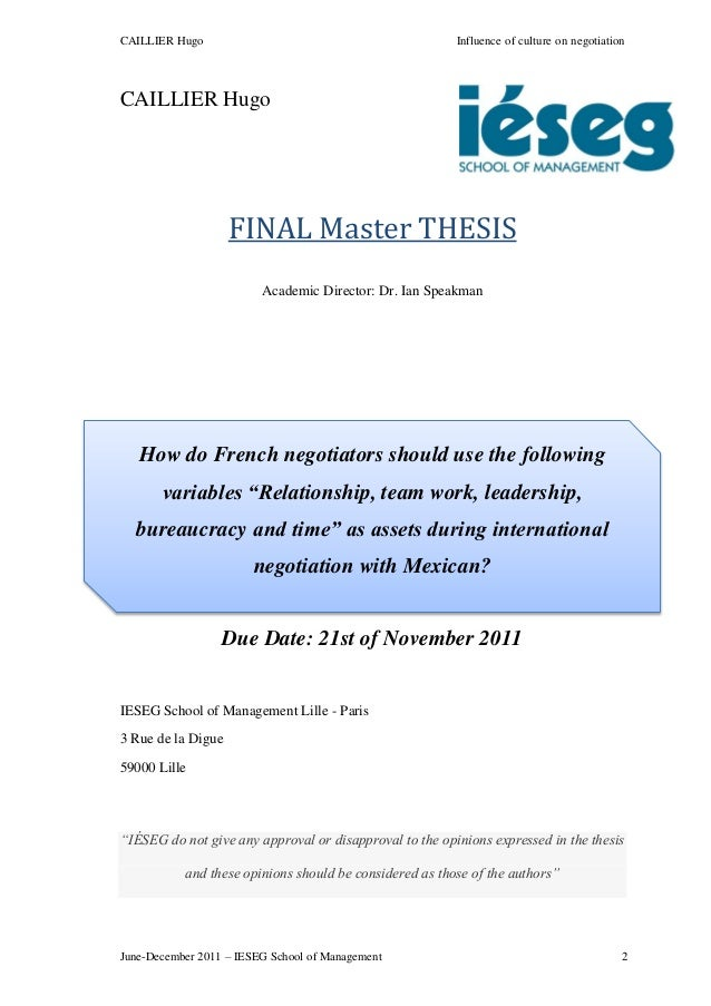 Master thesis on culture