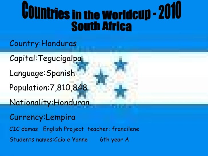 Countries in the Worldcup - 2010 South Africa  Country:Honduras Capital:Tegucigalpa Language:Spanish Population:7,810,848 ...