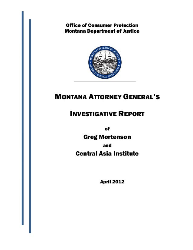 Office of Consumer Protection  Montana Department of JusticeMONTANA ATTORNEY GENERAL'S    INVESTIGATIVE REPORT            ...