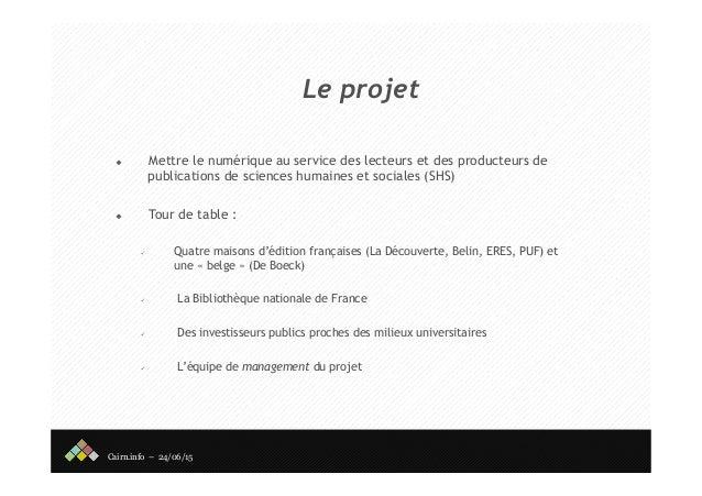 Cairn - Rencontre des éditeurs publics Slide 2