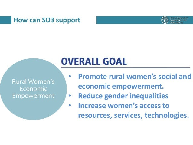 How can SO3 support Rural Women's Economic Empowerment • Promote rural women's social and economic empowerment. • Reduce g...