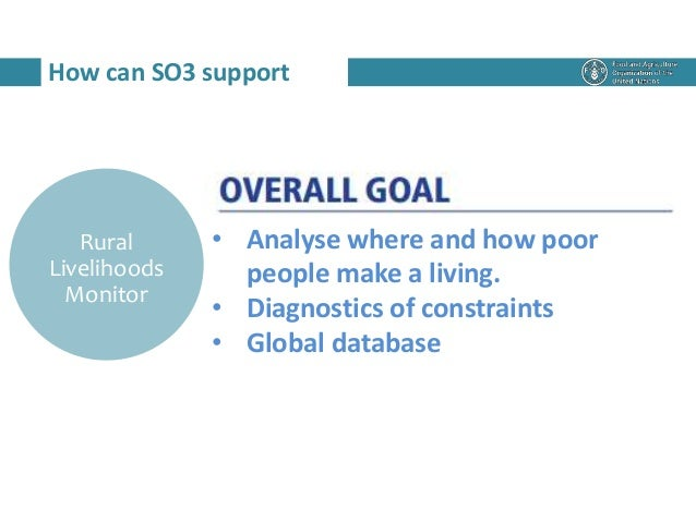 How can SO3 support Rural Livelihoods Monitor • Analyse where and how poor people make a living. • Diagnostics of constrai...
