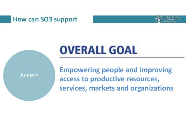 How can SO3 support Access Empowering people and improving access to productive resources, services, markets and organizat...