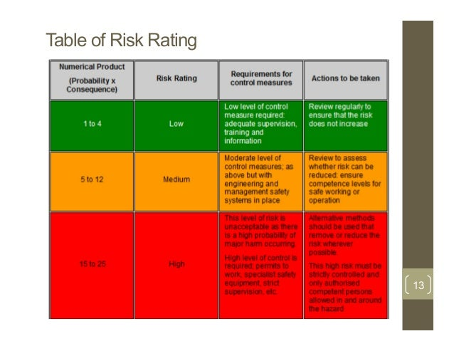 Table Of Risk Rating 13 ...