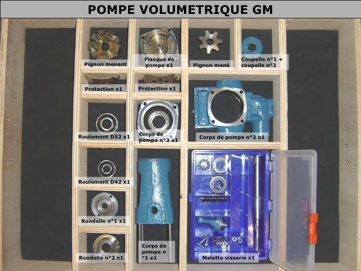 Malette visserie x1 Corps de pompe n°1 x1 Rondelle n°2 x1 Rondelle n°1 x1 Roulement D42 x1 Roulement D52 x1 Protection x1 ...