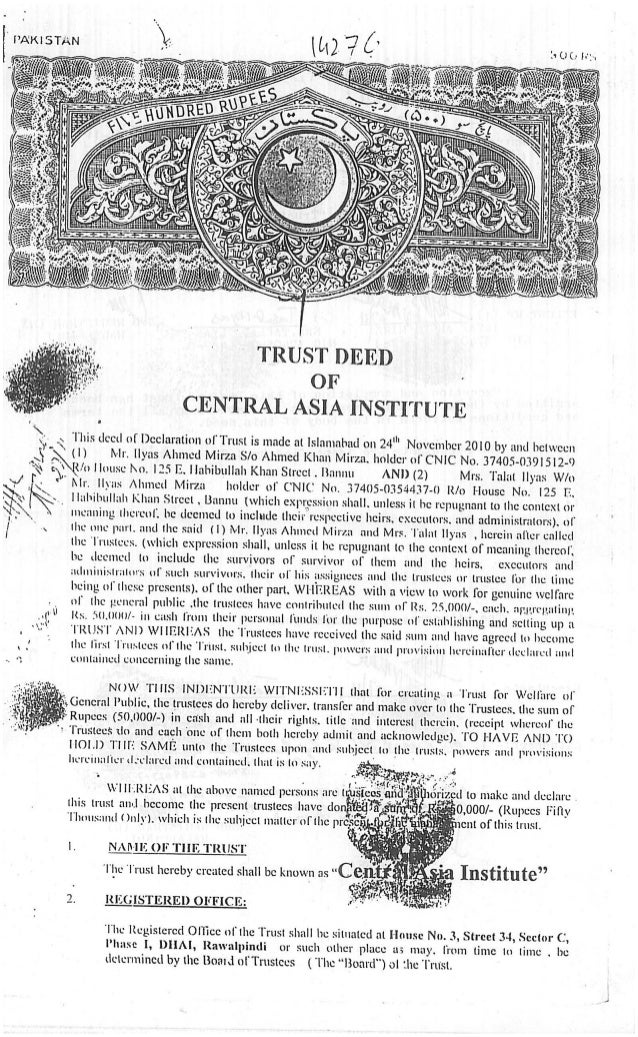 Cai trust deed ilyas mirza