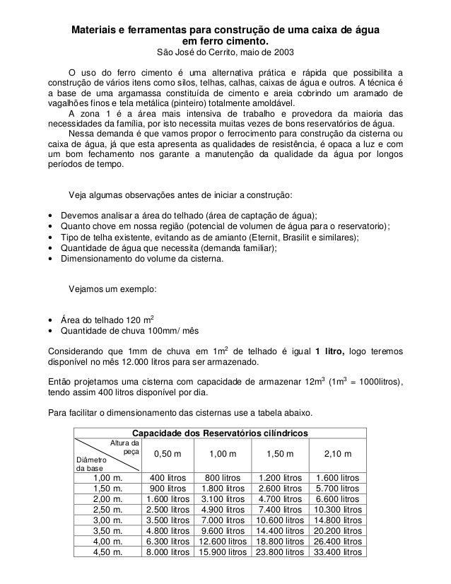 Materiais e ferramentas para construção de uma caixa de águaem ferro cimento.São José do Cerrito, maio de 2003O uso do fer...