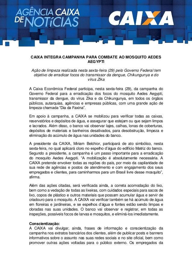 Caixa Integra Campanha Para Combate Ao Mosquito Aedes Aegypti