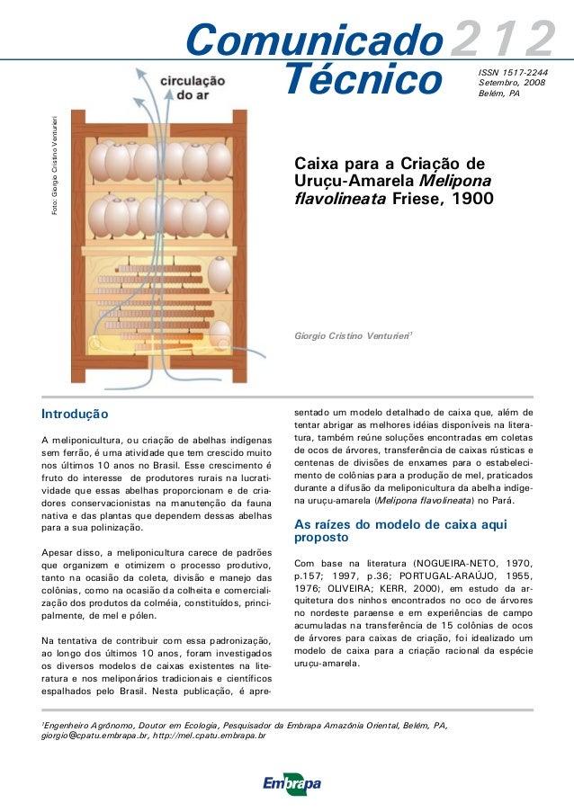 Caixa para a Criação de Uruçu-Amarela Melipona flavolineata Friese, 1900 Giorgio Cristino Venturieri1 1 Engenheiro Agrônom...