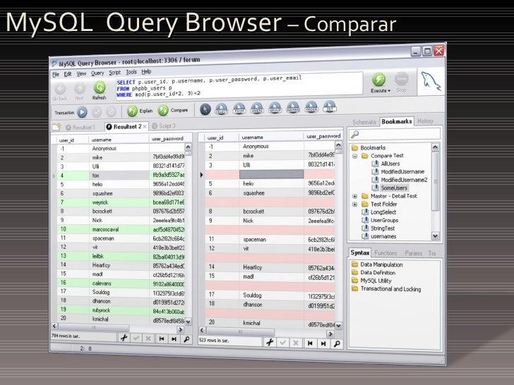 MySQL  Query Browser  – Comparar