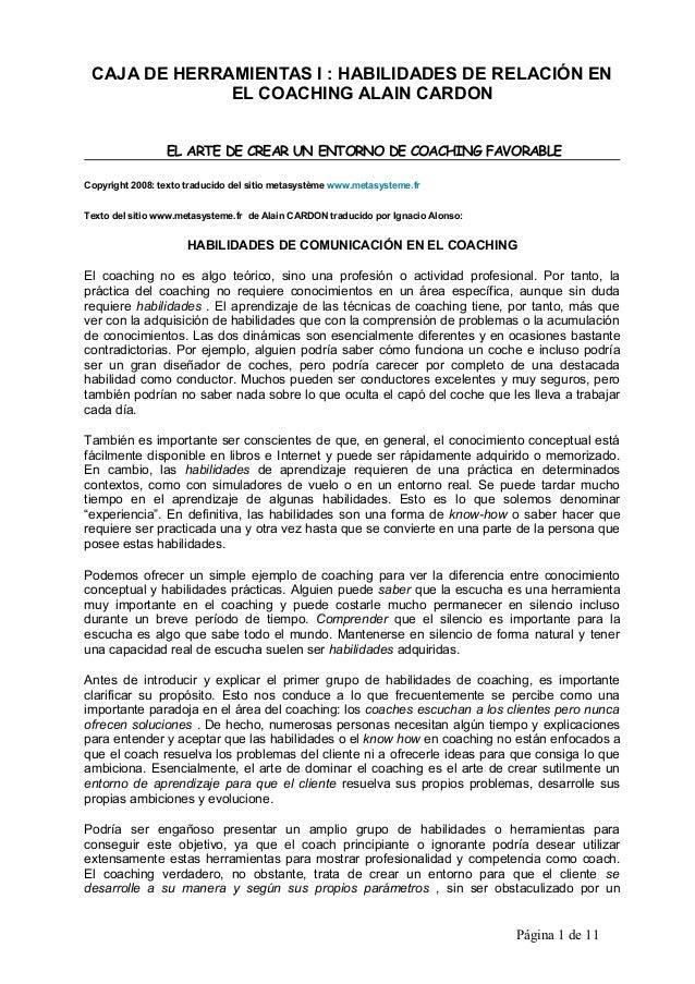 CAJA DE HERRAMIENTAS I : HABILIDADES DE RELACIÓN EN EL COACHING ALAIN CARDON EL ARTE DE CREAR UN ENTORNO DE COACHING FAVOR...