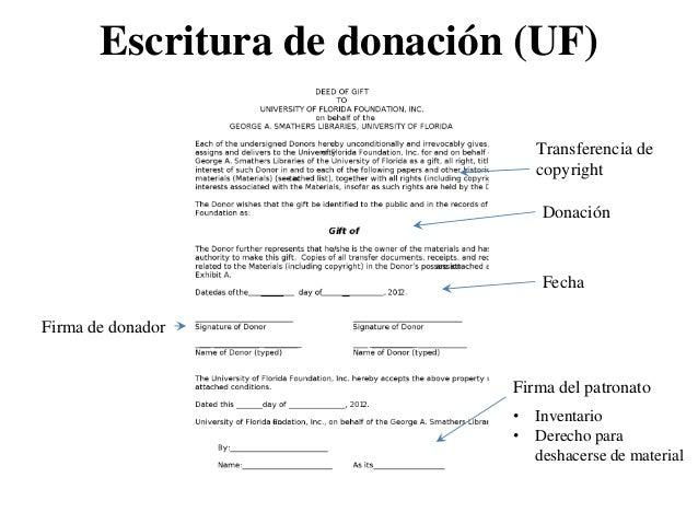 Escritura de donación (UF)                               Transferencia de                               copyright         ...