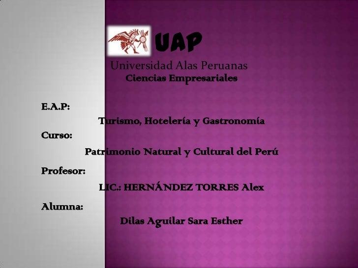 UAP<br />Universidad Alas Peruanas<br />Ciencias Empresariales<br />E.A.P:<br />Turismo, Hotelería y Gastronomía <br />Cur...
