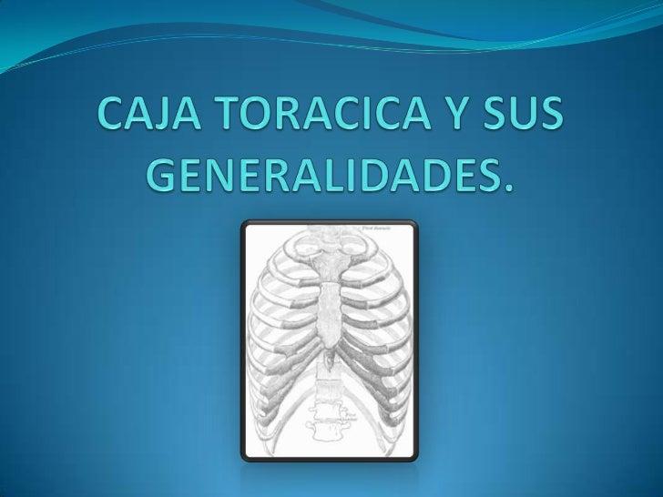 GENERALIDADES     La caja torácica es el esqueleto óseo que brinda protección    al corazón, pulmones, grandes vasos y, ad...