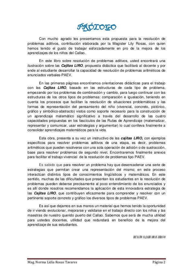CAJITAS LIRO  PARA LA RESOLUCIÓN DE PROBLEMAS ADITIVOS. Slide 2