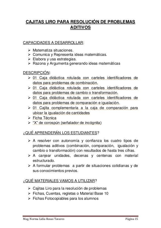 CAJITAS LIRO para la resolución de problemas aditivos (PAEV)