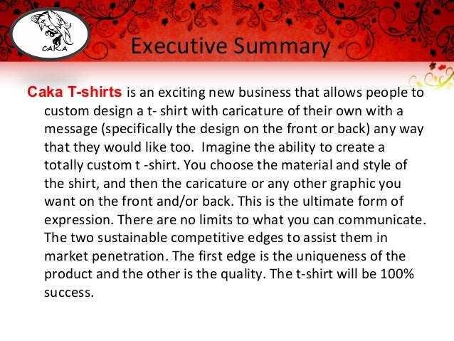 T shirt design business plan