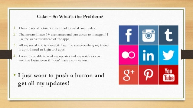 Cake – So What's the Problem? 1. I have 5 social network apps I had to install and update 2. That means I have 5+ username...