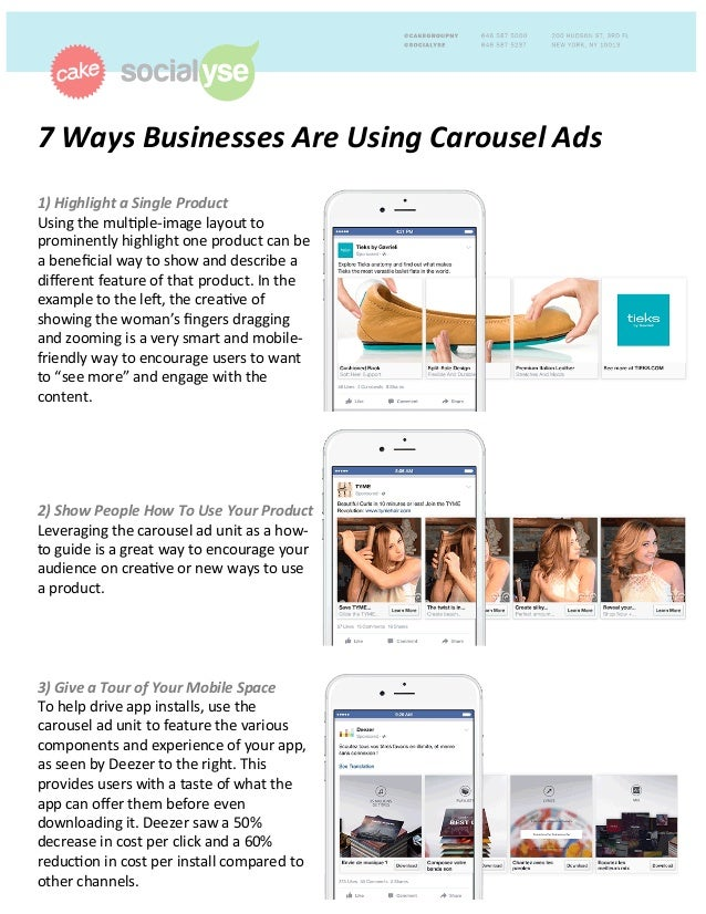 7	   Ways	   Businesses	   Are	   Using	   Carousel	   Ads	   	    	    1)	   Highlight	   a	   Single	   Product	   	    ...