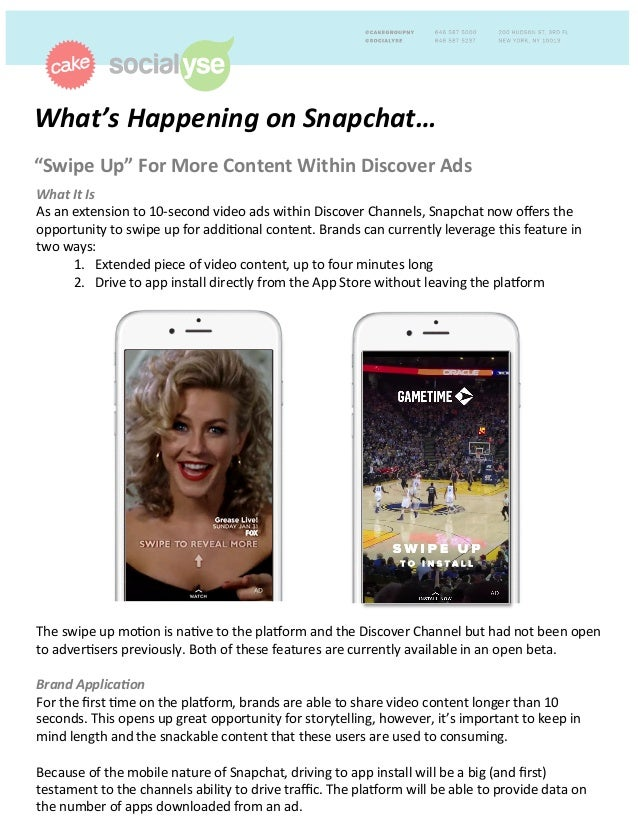 "What's	   Happening	   on	   Snapchat…	   	    ""Swipe	   Up""	   For	   More	   Content	   Within	   Discover	   Ads	   	  ..."