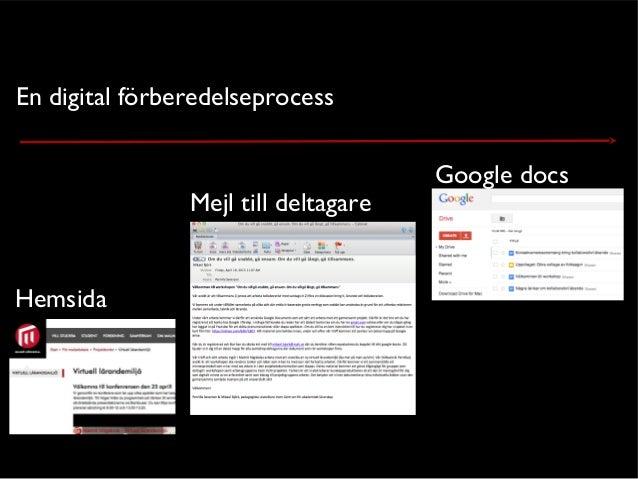 En digital förberedelseprocessHemsidaMejl till deltagareGoogle docs