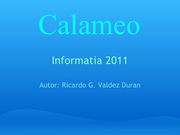 Informatia 2011 Autor: Ricardo G. Valdez Duran Calameo