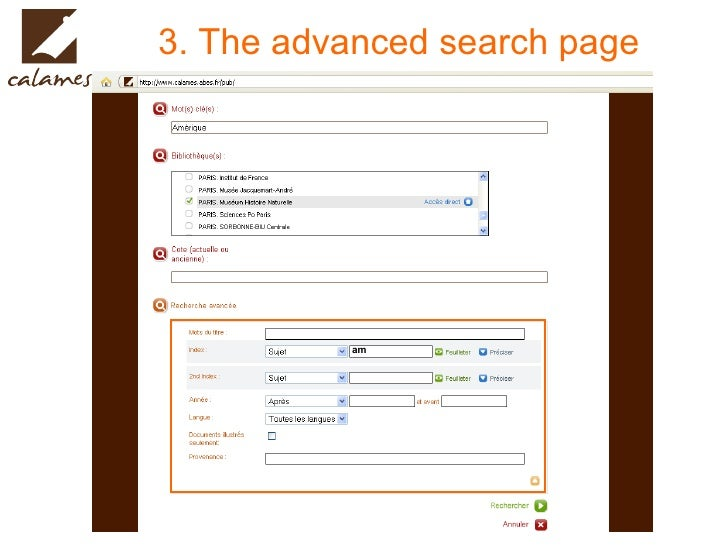 3. The advanced search page am