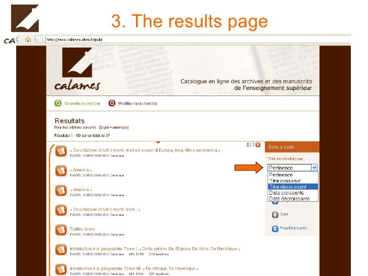 3. The results page