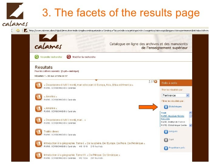 3. The facets of the results page