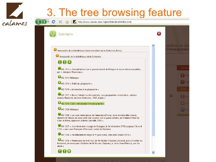 3. The tree browsing feature