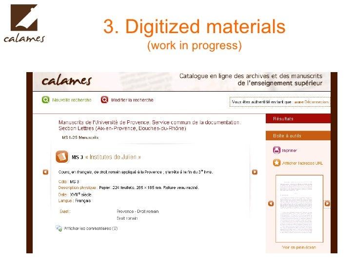3. Digitized materials (work in progress)
