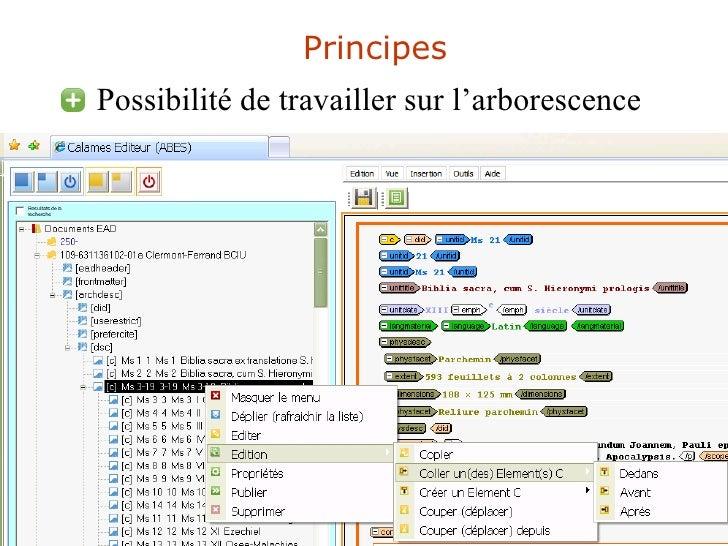 Principes <ul><li>Possibilité de travailler sur l'arborescence </li></ul>