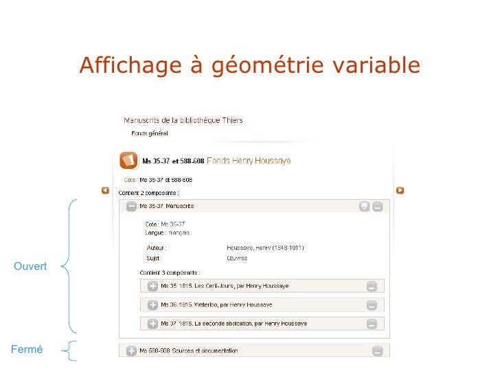 Affichage à géométrie variable Ouvert Fermé