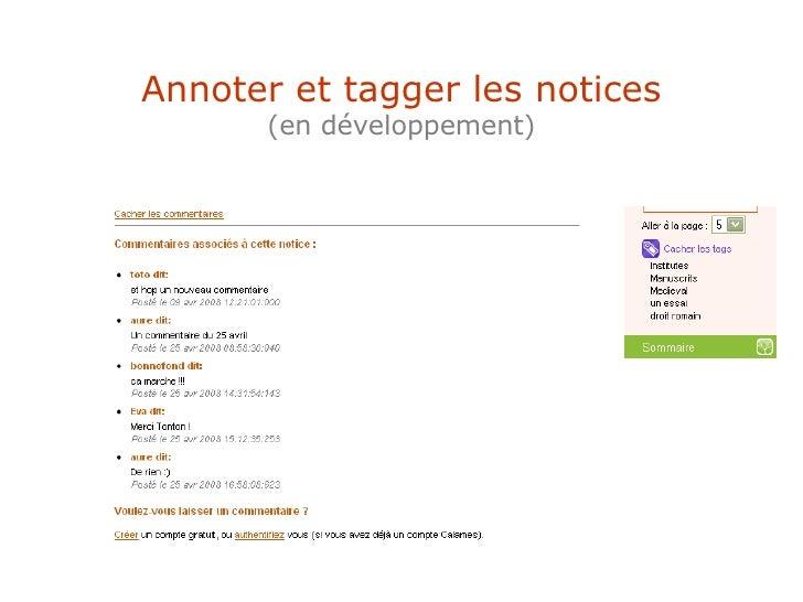 Annoter et tagger les notices (en développement)